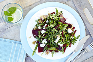 Arugula Salad with Walnuts, Red Beets, Feta Cheese and Lemon Dressing