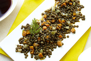 Lentil salad with soy and ginger marinade